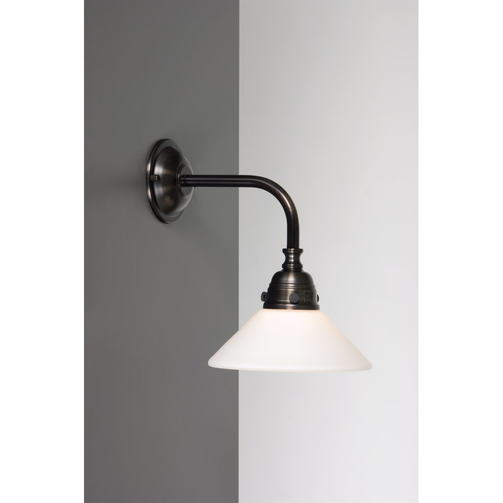 Victorian Period Bathroom Wall Light In Aged Brass Finish White Shade