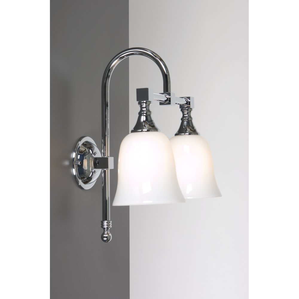 Old fashioned double bathroom wall light for lighting period bathrooms Traditional bathroom accessories chrome