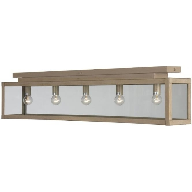 Kitchen Lighting Collections: Flush Fitting Long Low Ceiling Light In Beige Gold Rustic