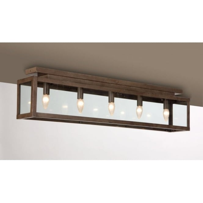 Antwerp Collection ZENIA long length rustic flush fitting ceiling light