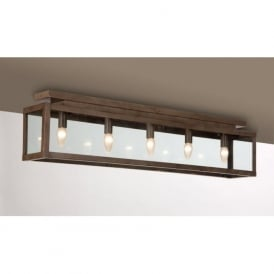 ZENIA long length rustic flush fitting ceiling light