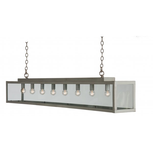 long bar suspension ceiling pendant light in painted grey taupe metal. Black Bedroom Furniture Sets. Home Design Ideas
