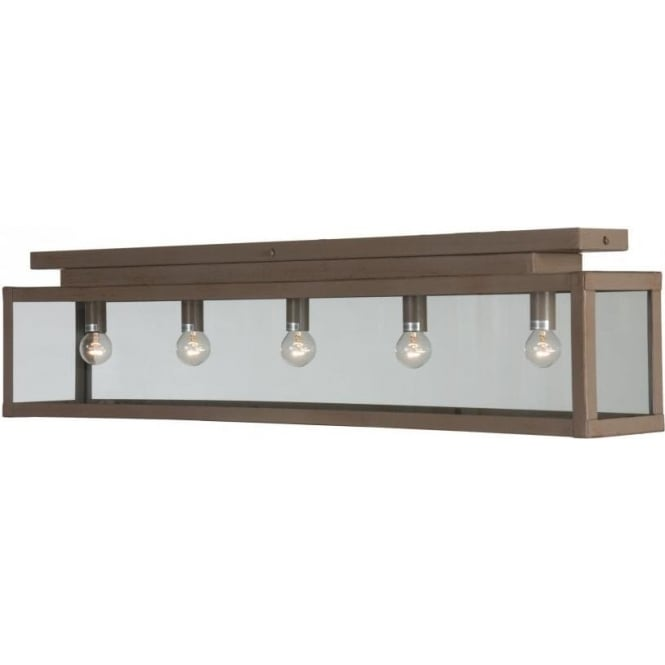 Long Flush Fitting Rustic Kitchen Ceiling Light For Low