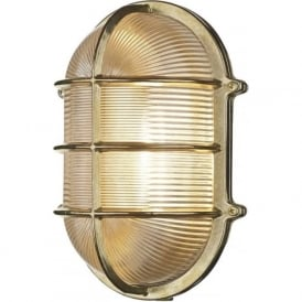 ADMIRAL large nautical style IP64 bulkhead wall light in brass with ribbed glass shade