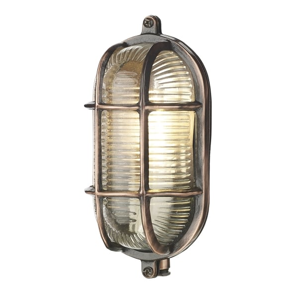 Fitting Outside Wall Lights : Copper Oval Bulkhead Wall Light, IP64 Fitting for Lighting Outside