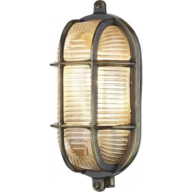 Artisan Lighting ADMIRAL nautical style IP64 bulkhead wall light in antique brass with ribbed glass shade