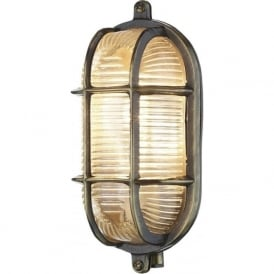 ADMIRAL nautical style IP64 bulkhead wall light in antique brass with ribbed glass shade