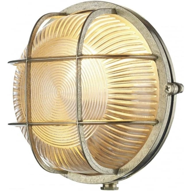 David Hunt Lighting ADMIRAL nautical style IP64 bulkhead wall light in brass with ribbed glass shade