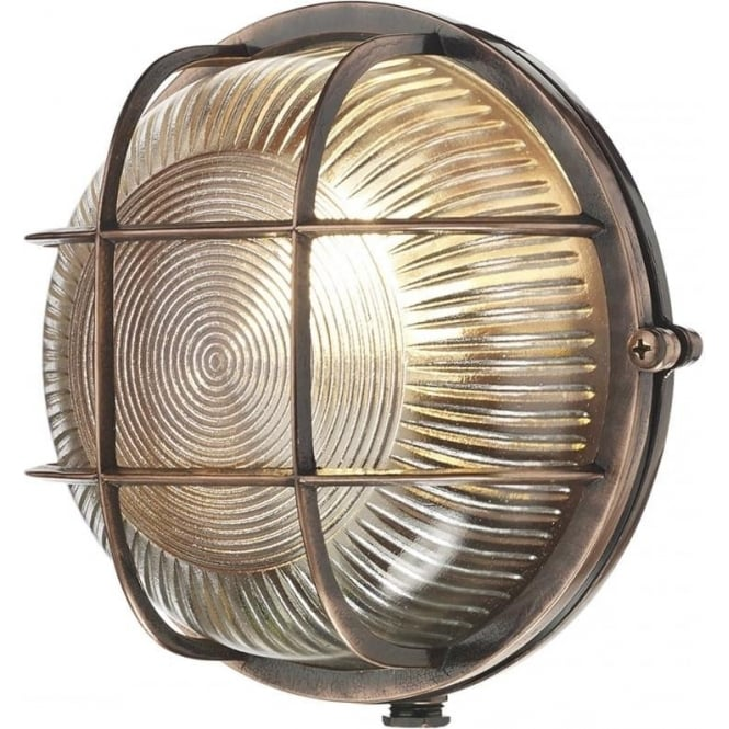 David Hunt Lighting ADMIRAL nautical style IP64 bulkhead wall light in copper with ribbed glass shade