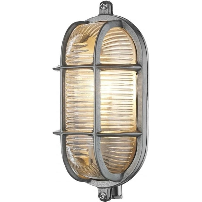 Artisan Lighting ADMIRAL nautical style IP64 bulkhead wall light in nickel with ribbed glass shade