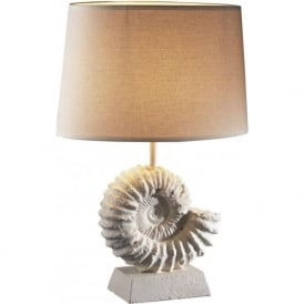 AMMONITE cream fossil table lamp with woven shade