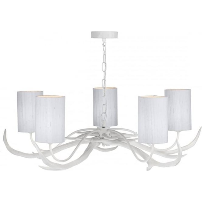 Antler 5 light white stag antler ceiling light with silver grey silk shades