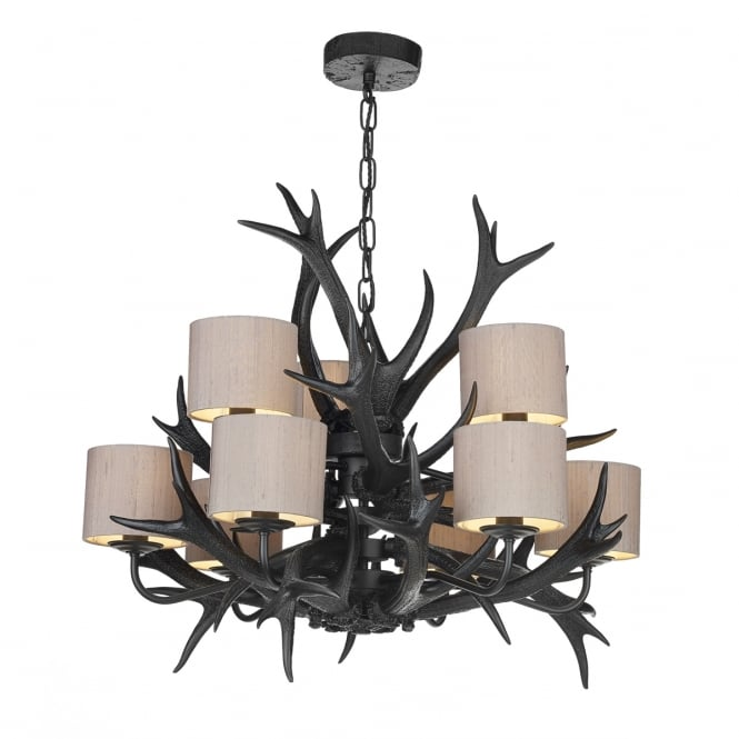 David Hunt Lighting ANTLER black stag antler ceiling light with truffle silk shades