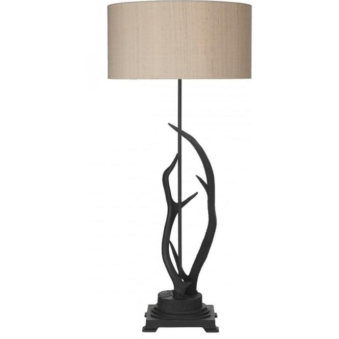 Artisan Lighting ANTLER black stag antler floor lamp with silk shade