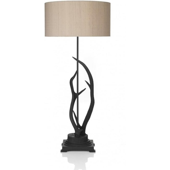 ANTLER Black Stag Antler Table Lamp With Taupe Silk Shade
