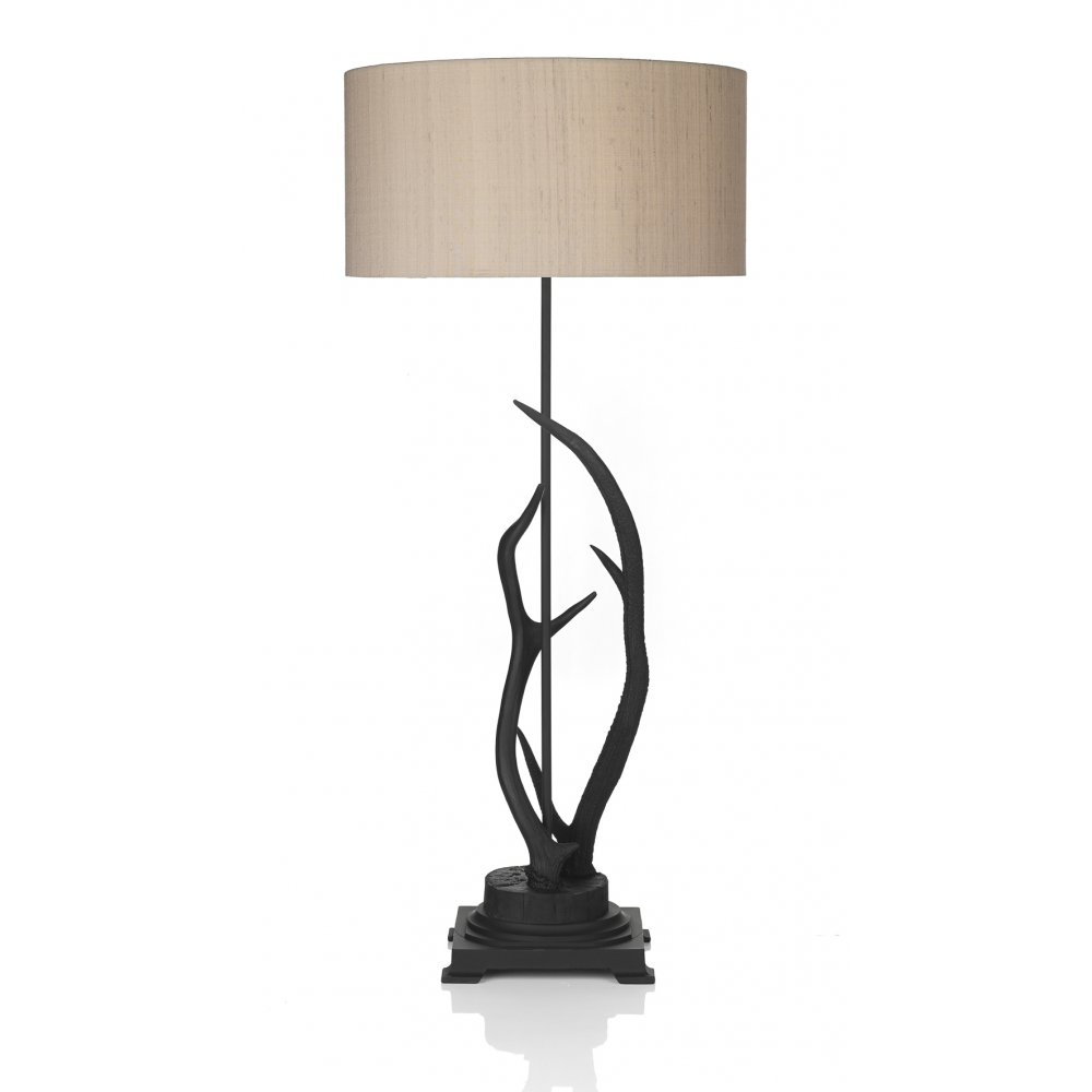 Table Lamp With Replica Black Stag Antler Base And Silk Shade