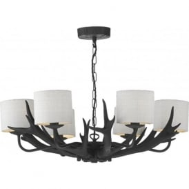 ANTLER black stag horn ceiling pendant with ivory silk shades