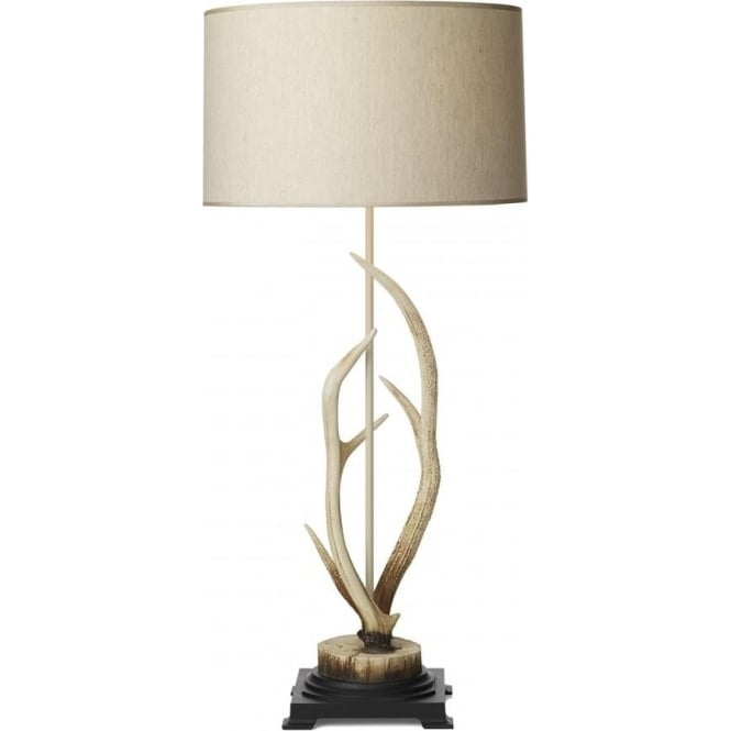 David Hunt Lighting ANTLER bleached stag antler table lamp with cream drum shade