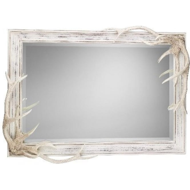 Artisan Lighting ANTLER large distressed cream mirror with stag antlers