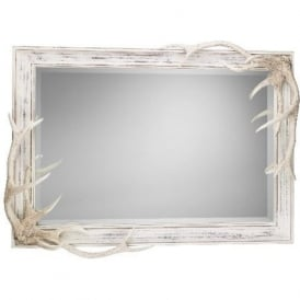 ANTLER large distressed cream mirror with stag antlers