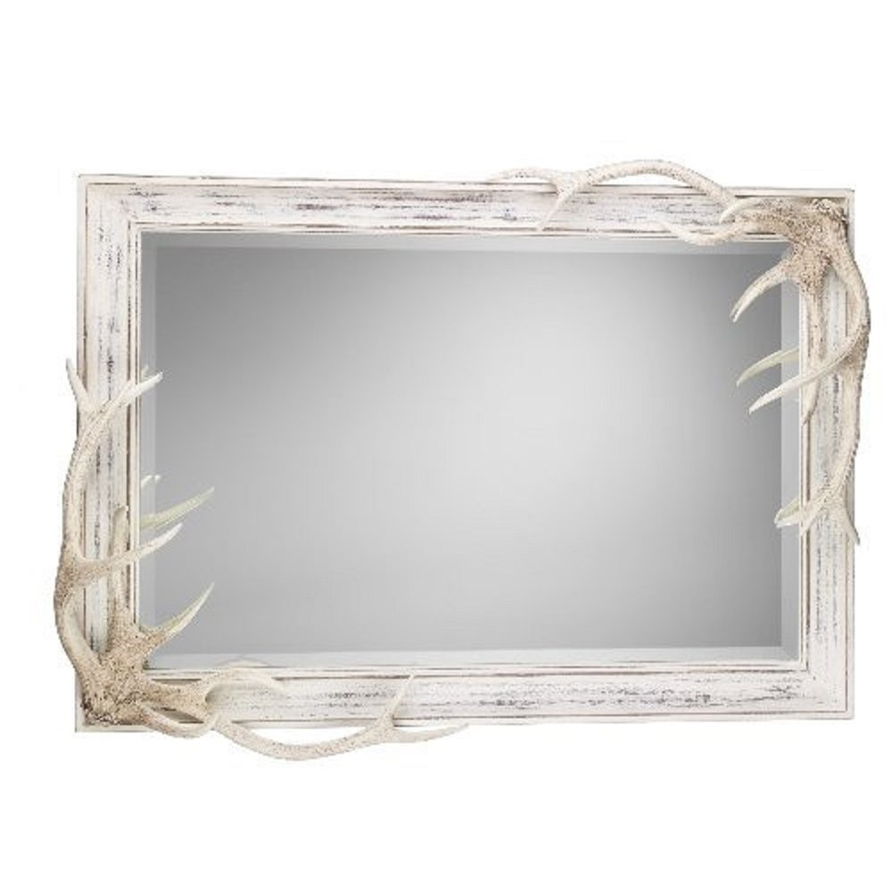 Distressed Cream Frame Mirror With Deer Antlers And