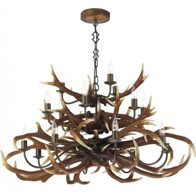 Large stag antler ceiling pendant light with 18 separate lights aloadofball Choice Image