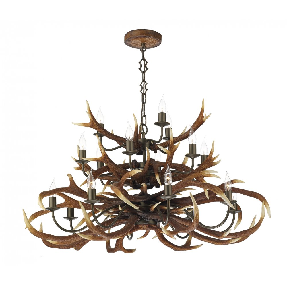Large Stag Antler Ceiling Pendant Light With 18 Separate