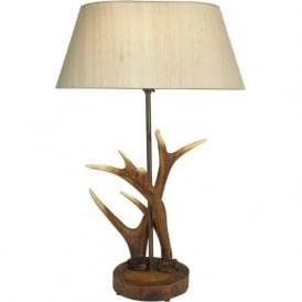 ANTLER replica stag antler table lamp with taupe silk shade