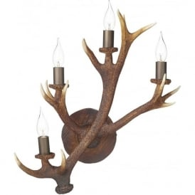 ANTLER replica stag horn 4 light wall candelabra