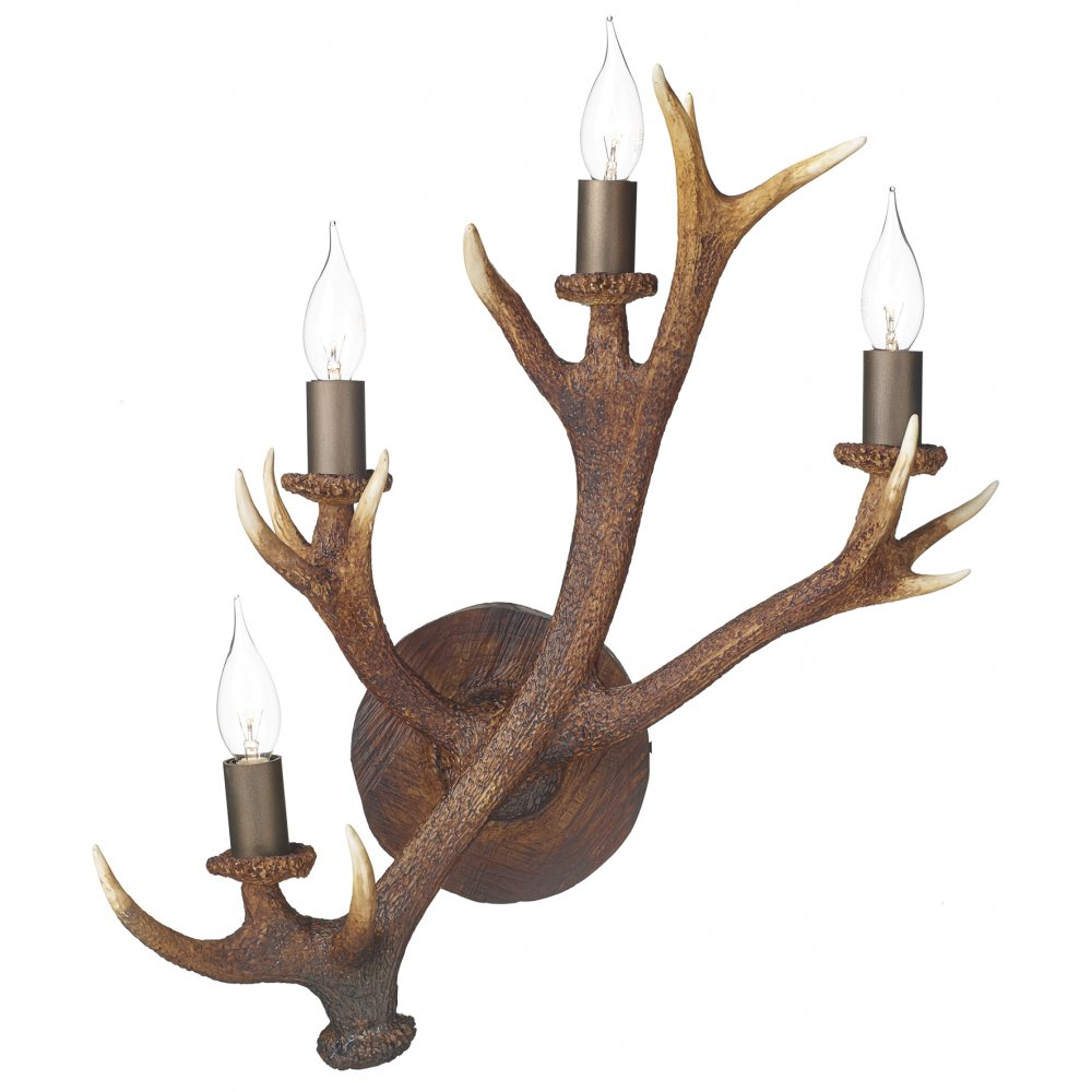 British Made Wall Lights : British Made Rustic Stag Antler Wall Candelabra with 4 Lights