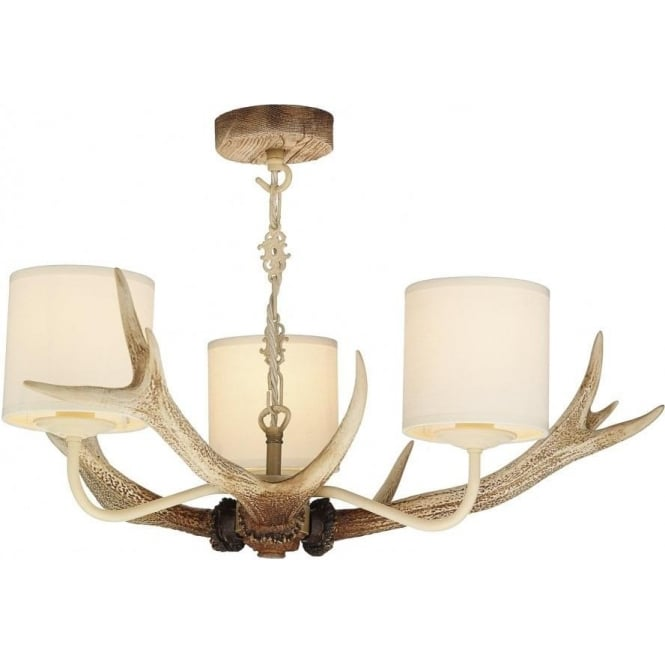 Artisan Lighting ANTLER rustic ceiling pendant with bleached stag antlers