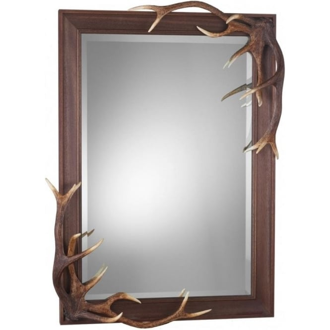 Artisan Lighting ANTLER rustic mirror with stag antlers