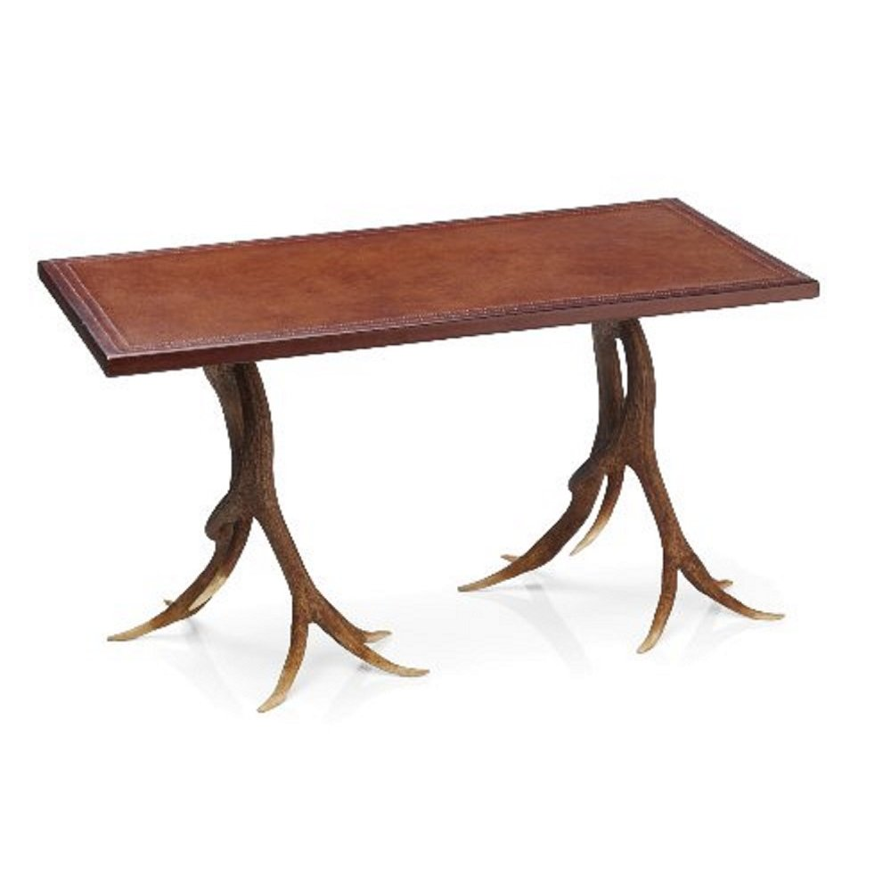 Rustic Stag Anter Coffee Table With Leather Effect Table Top