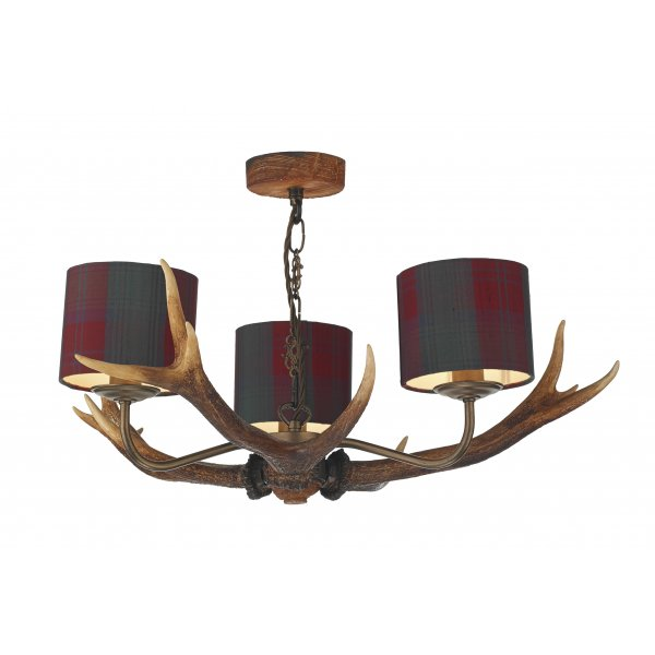 Rustic Stag Antler Ceiling Pendant Highland Colours With