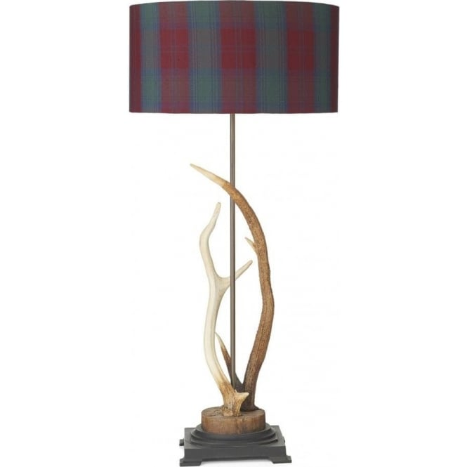 ANTLER Stag Antler Table Lamp With Tartan Shade