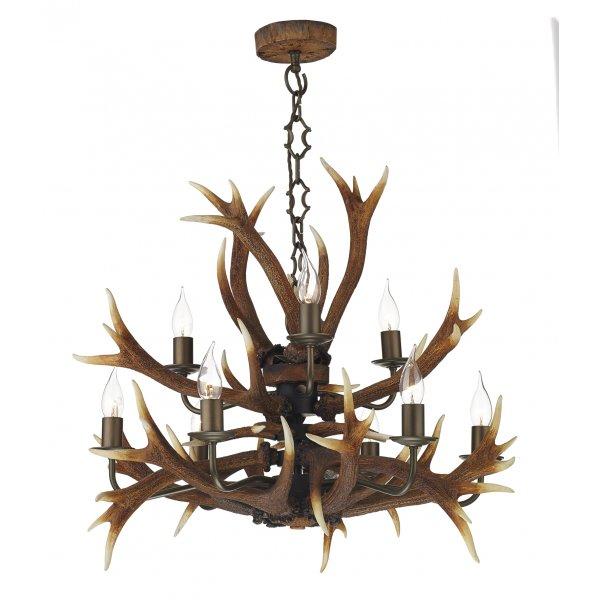 Antler Foyer Lighting : Rustic stag antler tiered ceiling pendant light brown