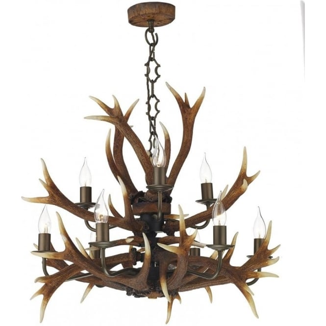 Rustic stag antler tiered ceiling pendant light brown highland antler tiered stag horn rustic ceiling pendant light aloadofball Images