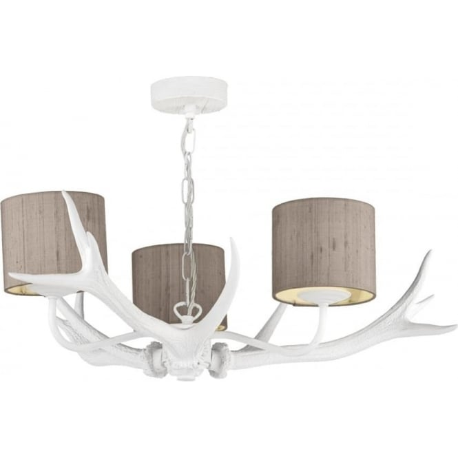 Stag antler ceiling light painted white antlers and truffle shades antler white ceiling pendant with silk shades aloadofball