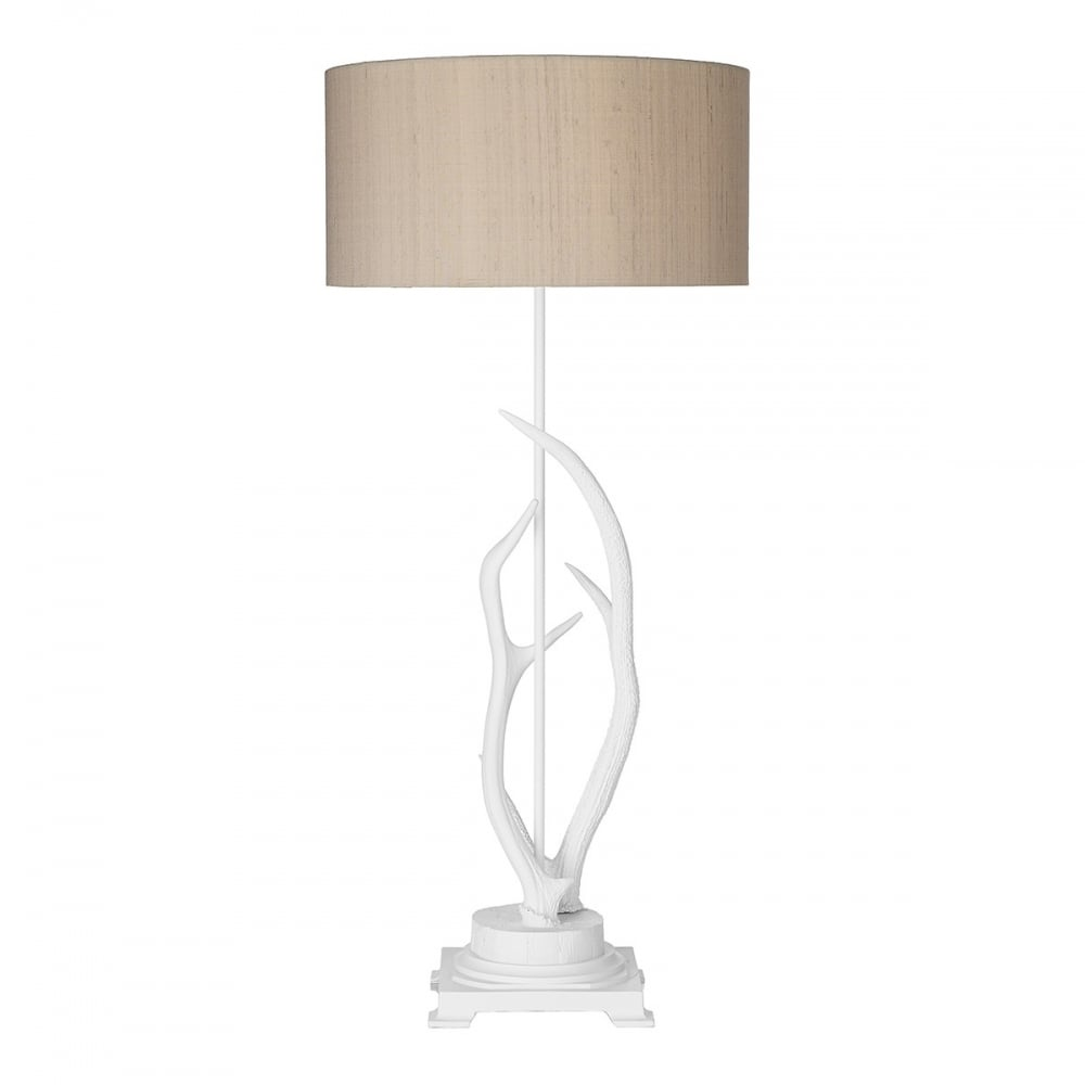Traditional white deer antler floor lamp with taupe silk shade for White floor lamp with pink shade