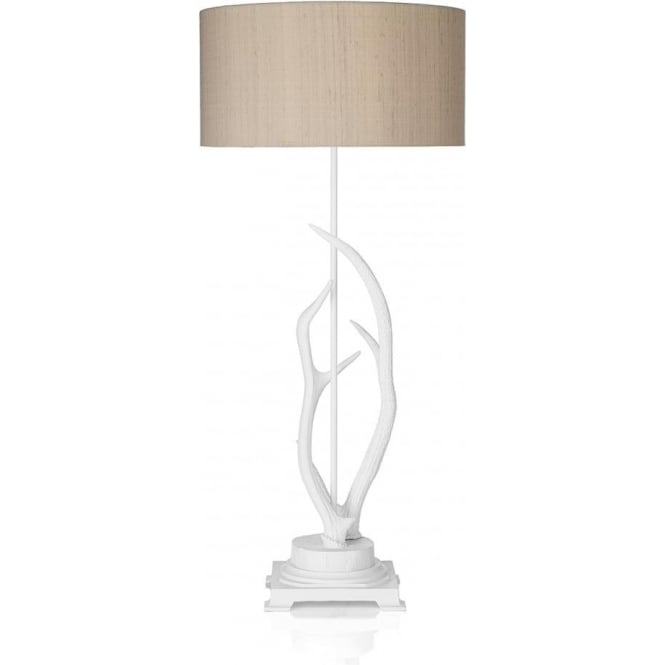 White Deer Antler Table Lamp With Hot Pink Silk Shade