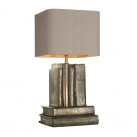 AUTHOR bronze book table lamp with truffle brown silk shade