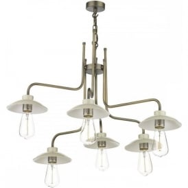 AXEL vintage style 6 light ceiling pendant with cream metal shades