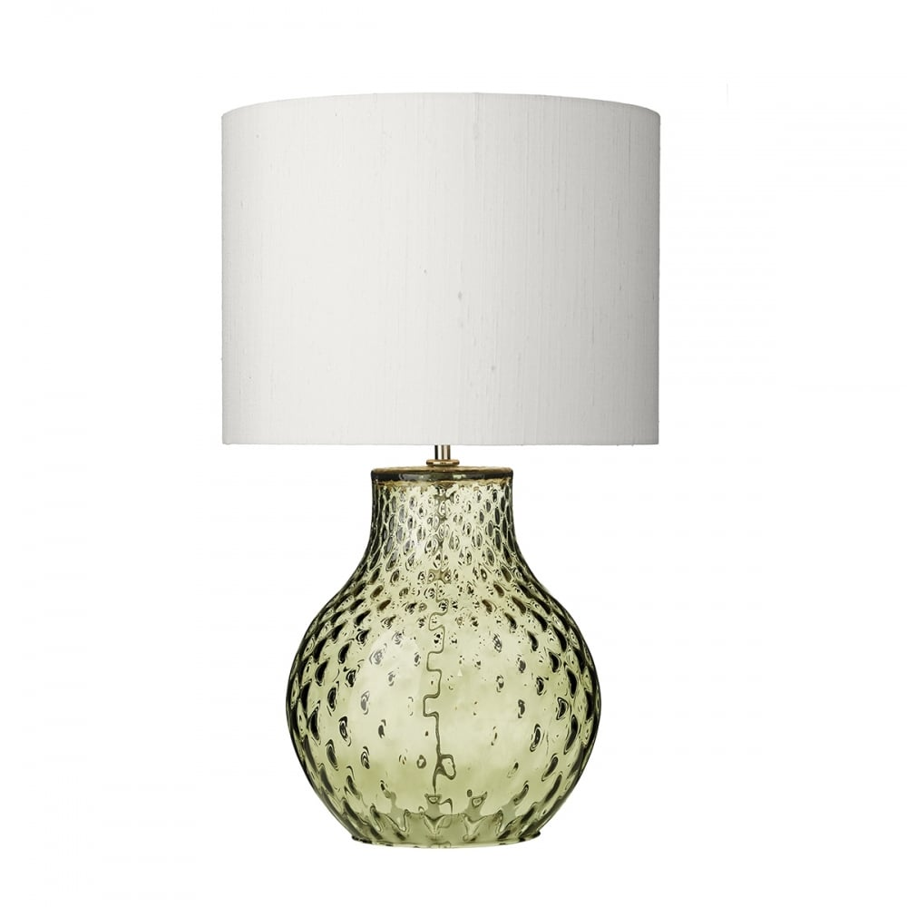 Delicieux AZORES Green Dimpled Glass Table Lamp With Ivory Silk Shade   Small