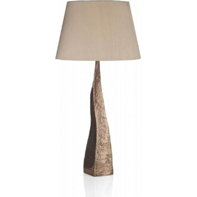 Artisan Lighting AZTEC hammered copper table lamp with taupe silk shade