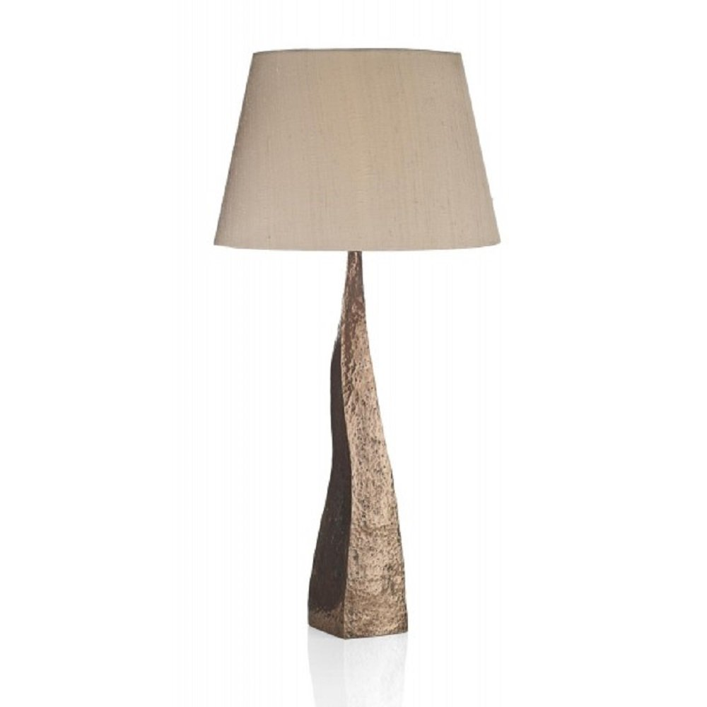 Table Lamp Hammered Copper Rustic Designer Light & Natural ...