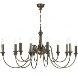 BAILEY 12 light bronze Georgian or Regency chandelier