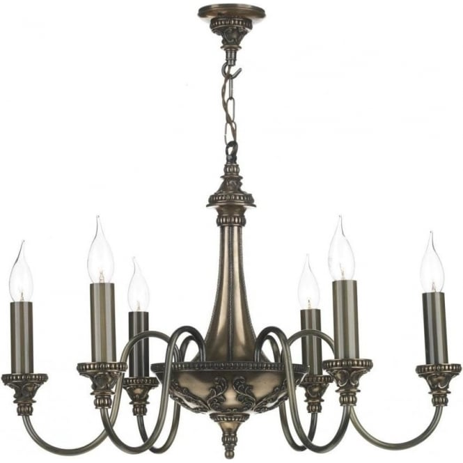 Bronze Chandelier, 6 Candle Lights, Georgian or Regency ...