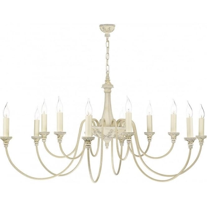 Artisan Lighting BAILEY large 12 light traditional antique cream ceiling chandelier