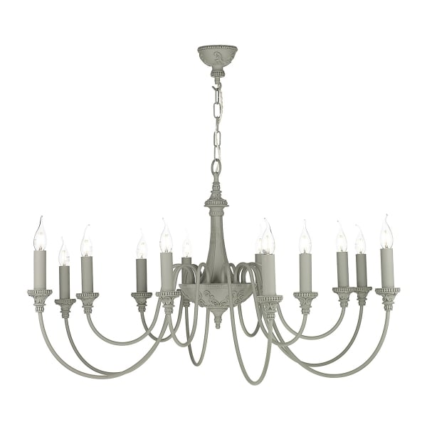 Large Traditional 12 Light Ceiling Chandelier in Neutral Grey Finish – Grey Chandelier