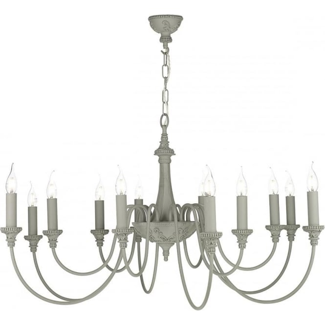 Artisan Lighting BAILEY large 12 light traditional ceiling chandelier in ash grey